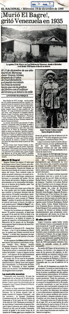 ¡Murió el bagre!, gritó Venezuela en 1935. Publicado el 19 de diciembre de 1990.