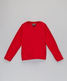 Real Love red long-sleeve V-neck tee on Zulily.