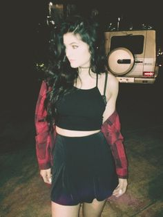 Black halter crop top, black high waisted skirt, red flannel