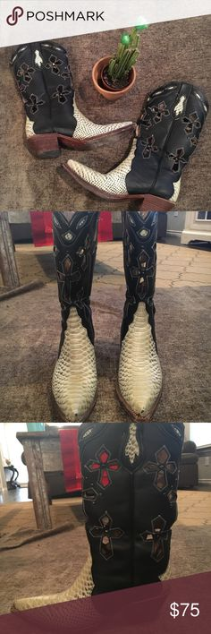 Black & White Old Gringo Boots Black & White Old Gringo Boots! In very good condition! Old Gringo Shoes Heeled Boots