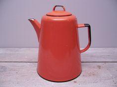 orange enamel coffee pot / vintage enamelware by hauteGREENhutch on Etsy https://www.etsy.com/listing/112176540/orange-enamel-coffee-pot-vintage