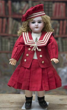 """19"""" (48 cm) Antique Bisque Bebe Dep Jumeau with Sailor Costume Antique from respectfulbear on Ruby Lane"""