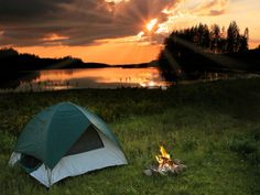 Tent Camping at Campfire For more great camping info go to http://CampDotCom.Com #camping #campinghacks #campingfun