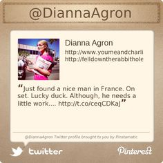 @DiannaAgron's Twitter profile courtesy of @Pinstamatic (http://pinstamatic.com)