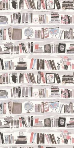 Books by Kate Spade - Blush - Wallpaper - A faux library wall, book shelf wallpaper design with a hand-painted effect by Kate Spade.A faux library wall, book shelf wallpaper design with a hand-painted effect by Kate Spade. Kate Spade Wallpaper, Blush Wallpaper, Book Wallpaper, Free Phone Wallpaper, Wallpaper Direct, Trendy Wallpaper, Tumblr Wallpaper, Screen Wallpaper, Wallpaper Quotes