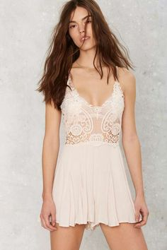 Running Lace Plunging Romper - Rompers + Jumpsuits : Sleeveless