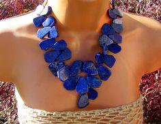 Natural Royal Blue Lapis Bib Necklace
