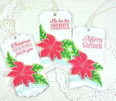 Poinsettia Tags by Dawn McVey for Papertrey Ink (October 2014)
