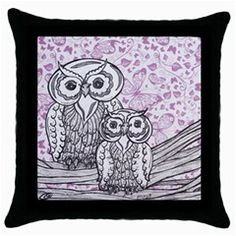 Owls and Butterflies 2 Throw Pillow Case (Black)  $20.00    An original, mixed media, owl design created using ink and pencil then scanned on to found paper.