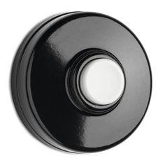 Bakelite doorbell black with white pusher