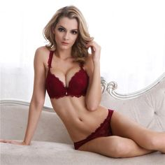 3d4254167c New Europe Girl Sexy Lace Bra Set Gather Adjustable Underwear Sets For Women  A B C Cup