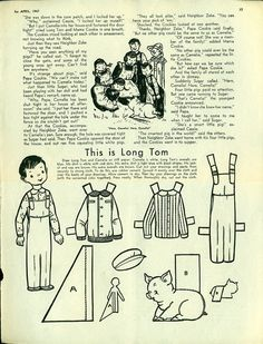 Vintage Antique 1947 Childrens Activities Magazine Uncut Paper Doll LONG TOM