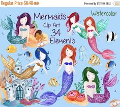 "SALE40% Mermaids clip art: ""WATERCOLOR MERMAID"" Girls clipart kids clipart sea life clipart hand painted sea animals nautical clipart corals"