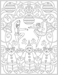 Welcome to Dover Publications - CH The Nutcracker Designs Cute Coloring Pages, Christmas Coloring Pages, Adult Coloring Pages, Coloring Sheets, Free Coloring, Coloring Books, Christmas Colors, Christmas Art, Nutcracker Image