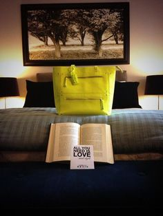 neon, bag, all you need is love, decor, fashion blogger, style, bedroom, yellow