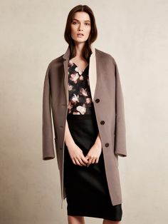 Double-Faced Wool Lapel Coat, Silk Floral Pleated Top, Moiré Print Pencil Skirt