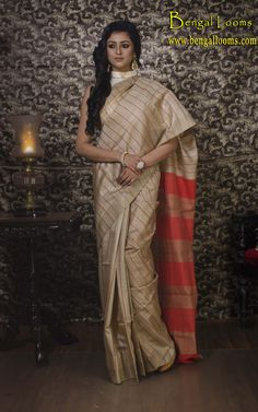 Tussar Silk Saree with Stitch Work In Beige and Red