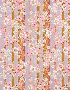 Yuzen Plum Khaki Red Stripes with Blossoms Fine Paper