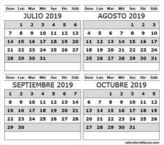 Calendario 2019 Julio Agosto Y Septiembre.Calendario Blanco Calendarioblanco On Pinterest