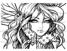 Digital Stamp Instant Download Genevieve Fantasy by CraftsandMe