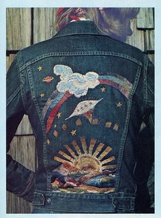 pat haines embroidered jean jacket by extrabox, via Flickr