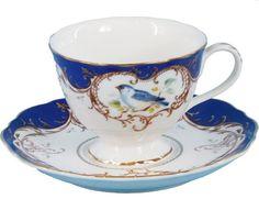 2 Royal Blue Bird Porcelain Tea Cups and Saucers (2 Teacups and 2 Saucers) - Assorted Tea Cups - Roses And Teacups