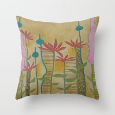 Botanical Wonderment Throw Pillow by  JESSIE SCHULLER  - $20.00
