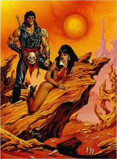Vampirella Card Art Painting (Joe Jusko), in the January 2009: Werewolves and Vampires Comic Art Sketchbook