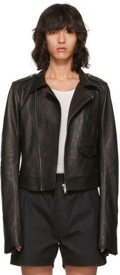 Rick Owens - Black Leather Stooges Cropped Bomber Jacket