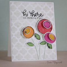 """Layers of round shapes and whimsical dot and line details make cute flowers on this handmade """"hi there"""" card. Follow the video tutorial using the Simon Says Stamp Scribble Flowers stamp set and dies."""
