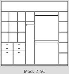 Placard 2.5 m de ancho mod A