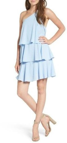 Nordstrom! Women's Leith One-Shoulder Ruffle dress. Designed to sway as you move, this flirty mini has an of-the-moment one-shoulder neckline and three tiers of airy ruffles.
