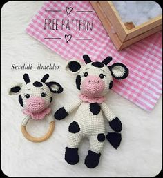Crochet Cow, Crochet Bunny Pattern, Crochet Baby Toys, Cow Pattern, Crochet Teddy, Crochet Patterns Amigurumi, Crochet Crafts, Crochet Dolls, Baby Knitting
