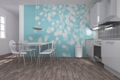 Birch - Turquoise - Wall Mural & Photo Wallpaper - Photowall