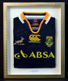 Springbok Rugby Shirt signed by John Smit Rugby Players, Shadow Box, African, Bar Designs, South Africa, Shirts, Tops, Projects, Women