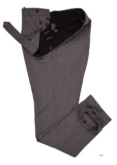 Luxire dress pants constructed in Vitale Barberis Canonico - Flannels Grey: http://custom.luxire.com/products/vbc-vitale-barberis-canonico-flannels-grey-vbc_599_101_3  Consists of extra long extended closure with side metal adjusters, button fly and 1.5″ bottom cuffs.