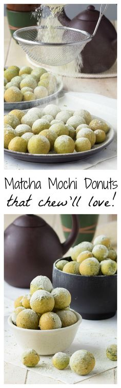 You get the irresistible freshness of a donut, the addictive chewiness of mochi and the alluring taste of matcha green tea. Easy Donut Recipe, Donut Recipes, Brunch Recipes, Sweet Recipes, Dessert Recipes, Sushi Recipes, Green Tea Dessert, Matcha Dessert, Delicious Desserts