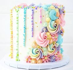 Brittany May on So happy I had the opportunity to make this pastel rainbow cake for a sweet little girls birthday! Its made up of rich chocolate layers, Pretty Cakes, Cute Cakes, Beautiful Cakes, Amazing Cakes, Fondant Cakes, Cupcake Cakes, Cupcake Ideas, Rose Cupcake, Wilton Cakes