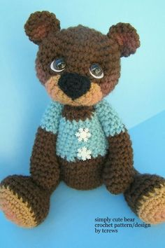 Crochet Pattern Cute Teddy Bear by Teri Crews door TeriCrewsCrochet Crochet Amigurumi, Crochet Teddy, Crochet Bear, Cute Crochet, Crochet Animals, Crochet Crafts, Crochet Dolls, Crochet Projects, Teddy Bear Toys
