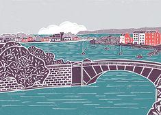 'Neath the Comeraghs' Original handmade print of Dungarvan town, Co. Waterford