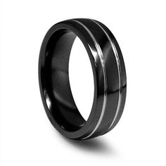 Edward Mirell Men's 7.0mm Black Titanium Wedding Band with Grey Grooves - Zales