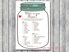 what's in your purse, purse game, Mason jars Bridal Shower Game Printables, Bachelorette, Wedding Sh Printable Bridal Shower Games, Wedding Shower Games, Bridal Shower Cakes, Bridal Shower Rustic, Bridal Showers, Bachelorette Party Decorations, Bridal Shower Decorations, Disney Love Songs, Purse Game