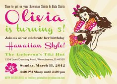 Luau Birthday Invitations by InvitingPrintables on Etsy