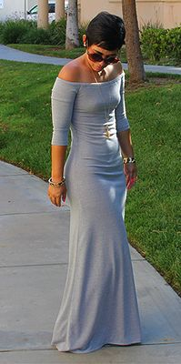 Grey, off-shoulder maxi dress... Mimi Goodwin design... Shop http://www.stitched9.com/#!shop/c5em
