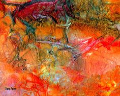 """""""Red Cliff"""" by Dana Roper. Mixed media painting on crumpled tracing paper from my Stonewalls series. www.redbubble.com..."""
