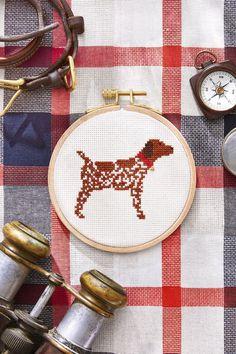 free cross stitch pattern hunting dog