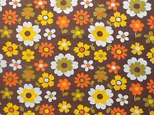 Fab 70's vintage/retro barkcloth floral curtain fabric - flower power
