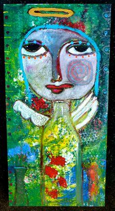 """""""A Garden Angel"""" an original mixed media painting: Tracey Ann Finley #angels"""