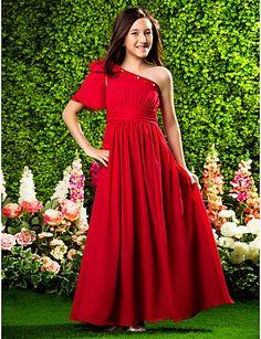 A-line One Shoulder Floor-length Chiffon Junior Bridesmaid Dress With Bow