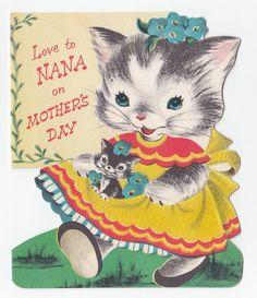 Vintage Greeting Card Cute Flocked Die-Cut Kitten Cat Norcross 1950s